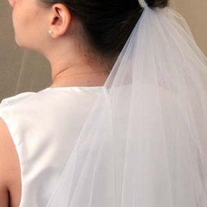 First Communion Pearl Bun Wrap Veil