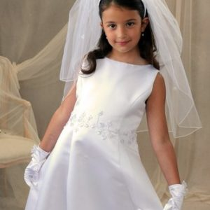 First Communion Headband Veil with Shamrocks