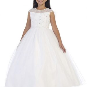 1st Communion Dress Illusion Neckline