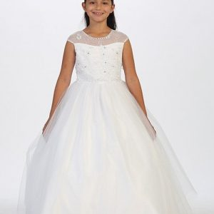 Holy Communion Dress Illusion Neckline
