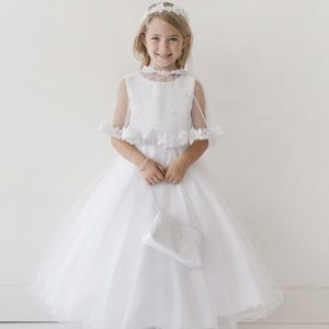 First Communion Dress Lace Bodice with Cape