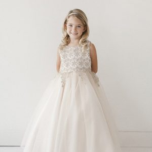 Ivory First Communion Dress Lace Bodice