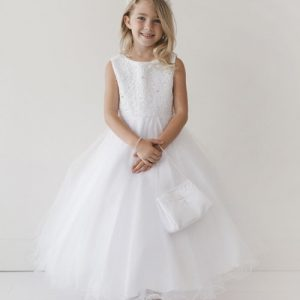 Girls Holy Communion Dress with lace Bodice