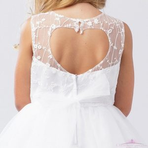 First Communion Dress Open Heart Back