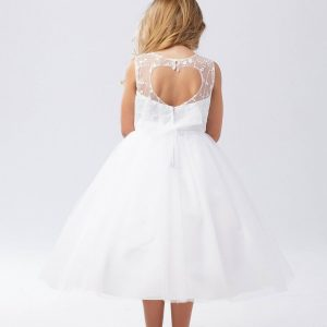 Organza First Communion Dress Open Heart Back