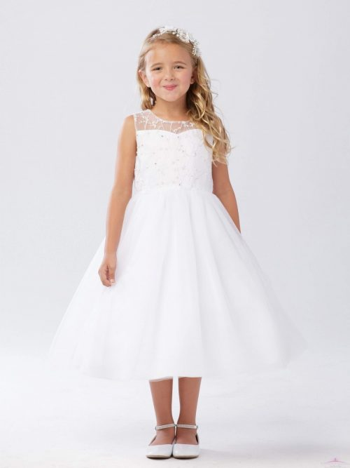 Girls Holy Communion Dress with Beaded Bodice