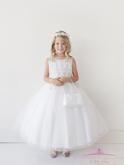 Girls First Communion Dress Lace Bodice