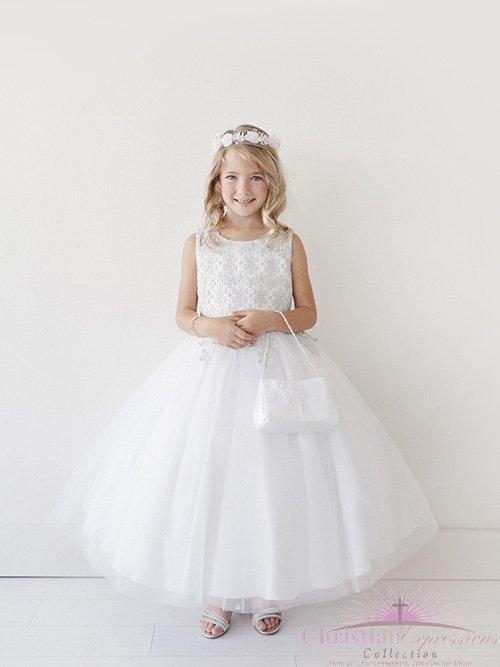 Girls First Communion Dress Lace Bodice